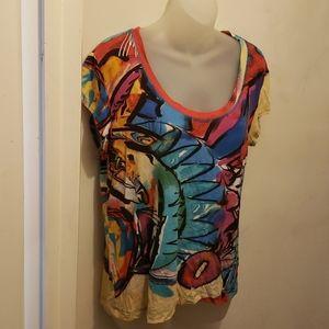 Ladies, multi colored chico's t shirt